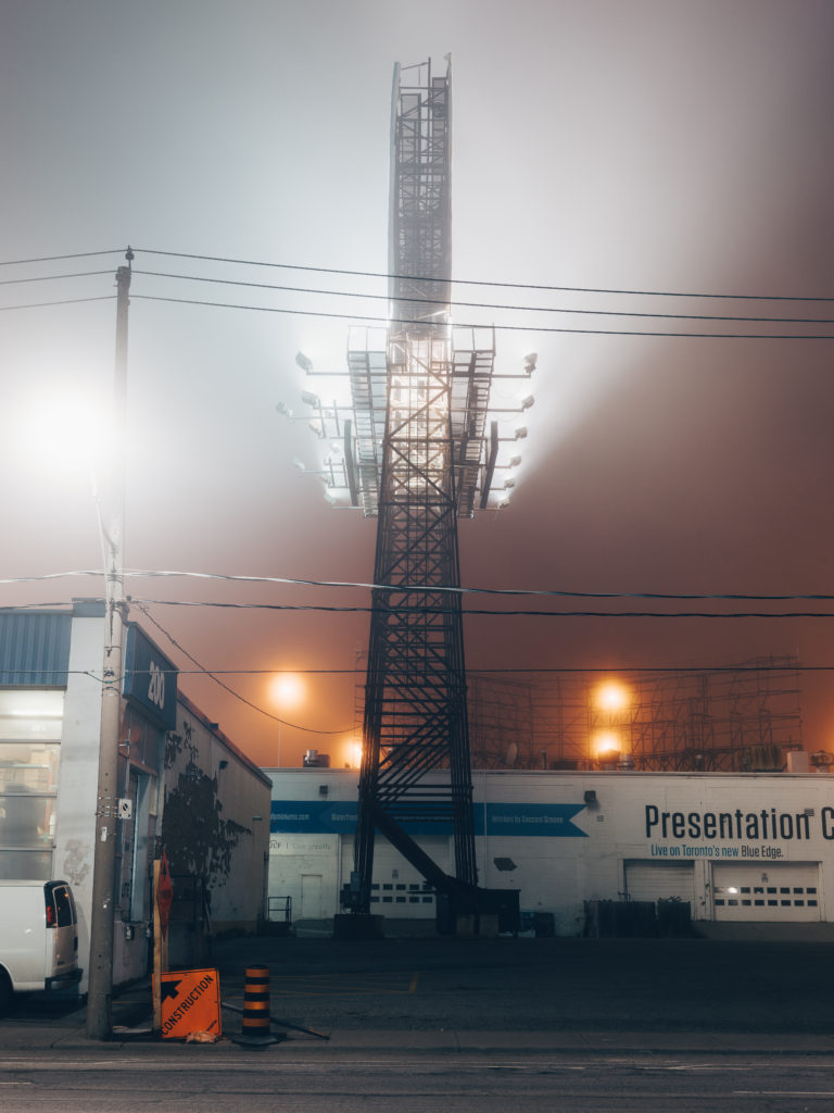 Lit Billboard In The Fog