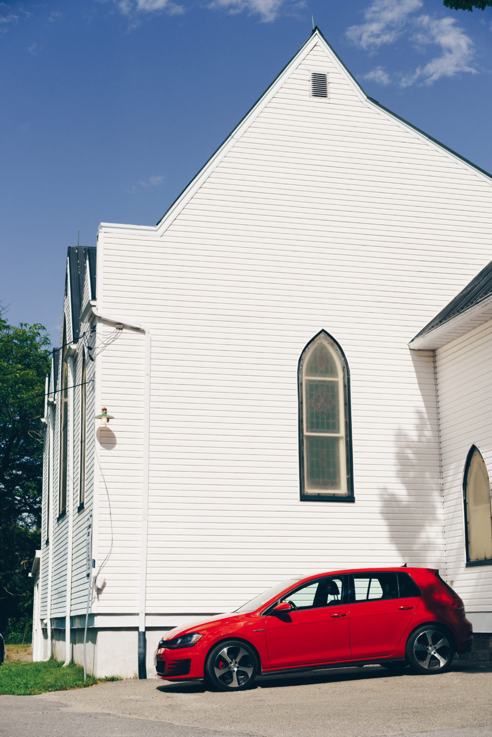 Red Car And Church