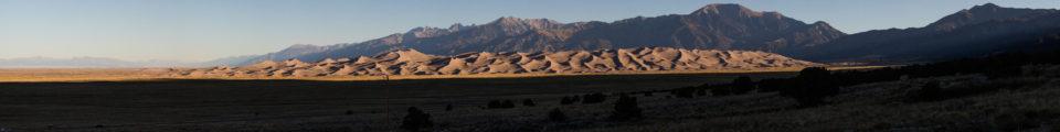 Great Sand Dunes Panorama At Dawn