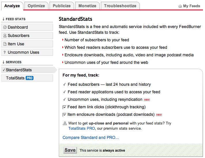Feedburner: Podcast Tracking/Video Blog stats