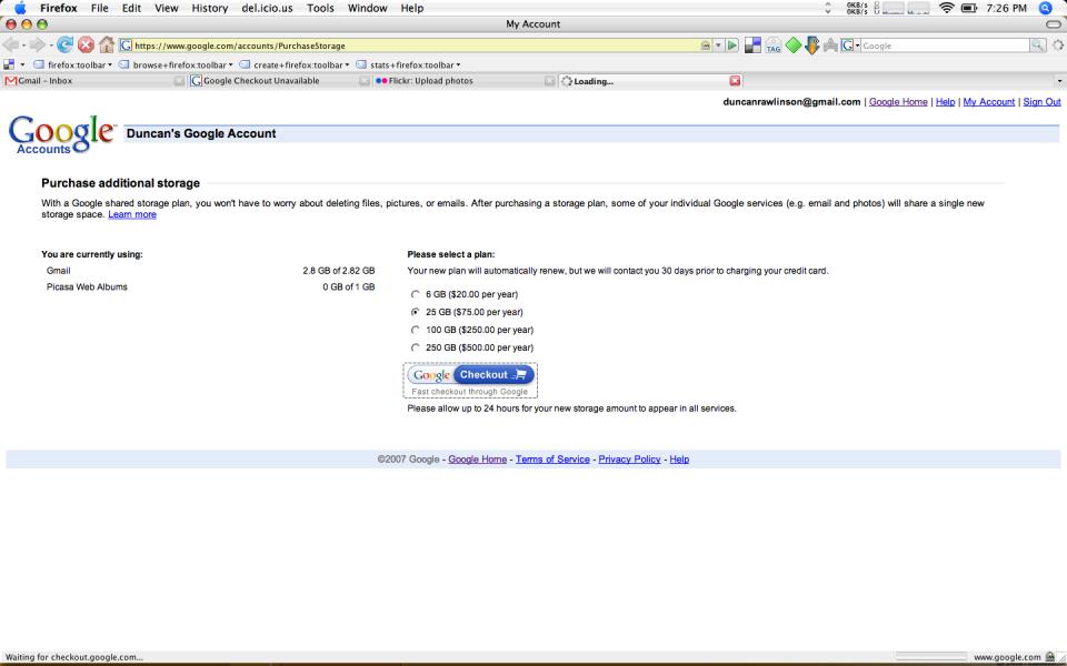 Google Offering extra Gmail Storage