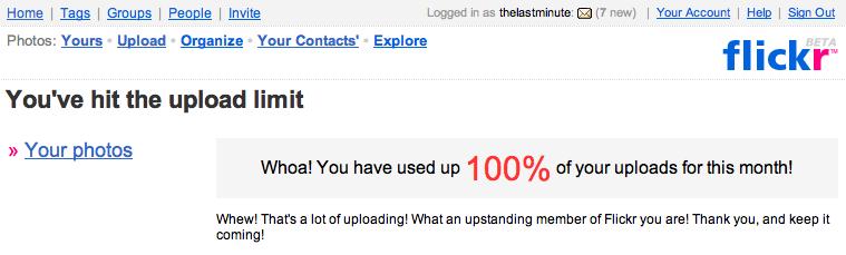 Flickr Upload Limit Message