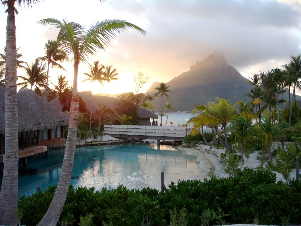 sunset at bora bora