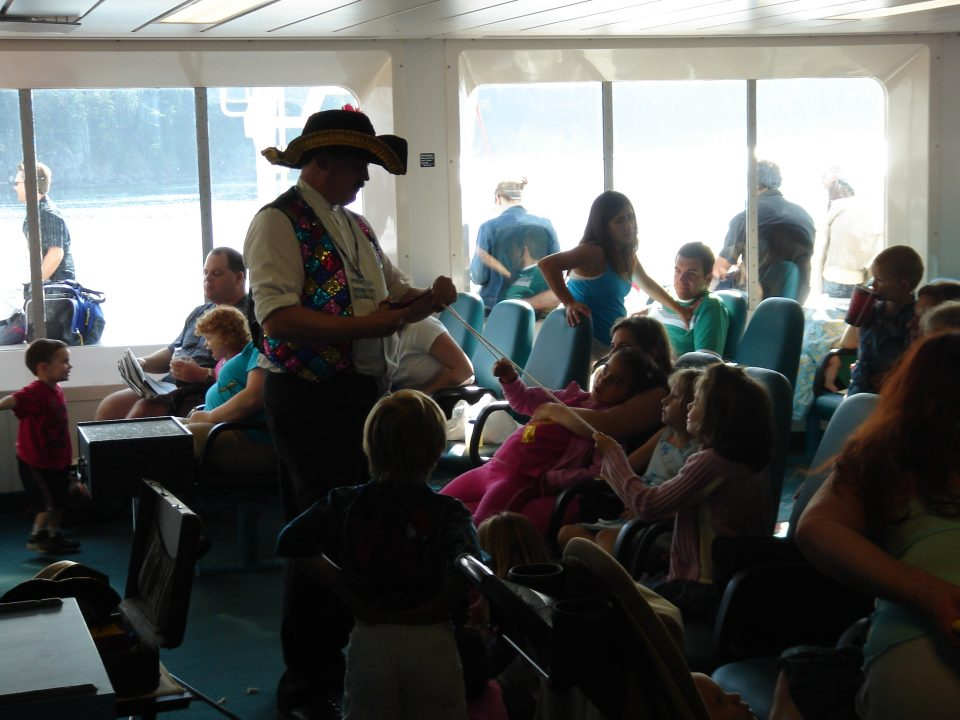 Magic tricks for the kids on the ferry