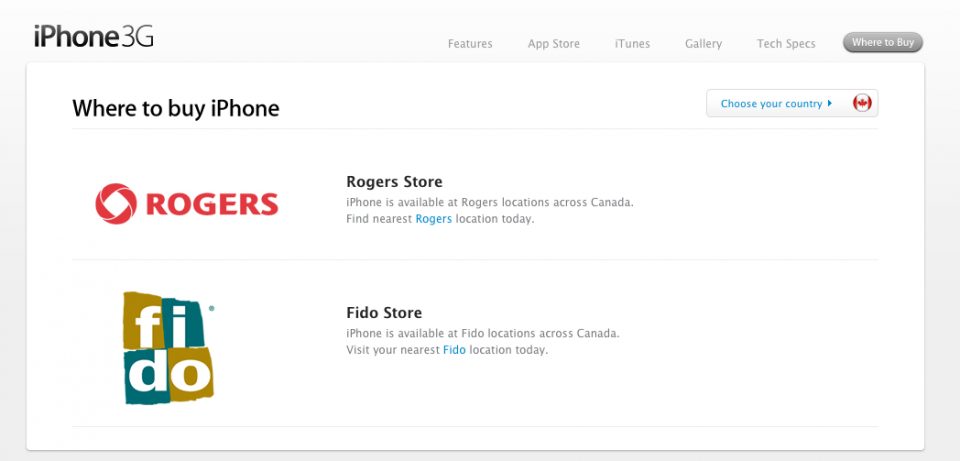 iPhone 3G - Where to Buy - Apple Canada
