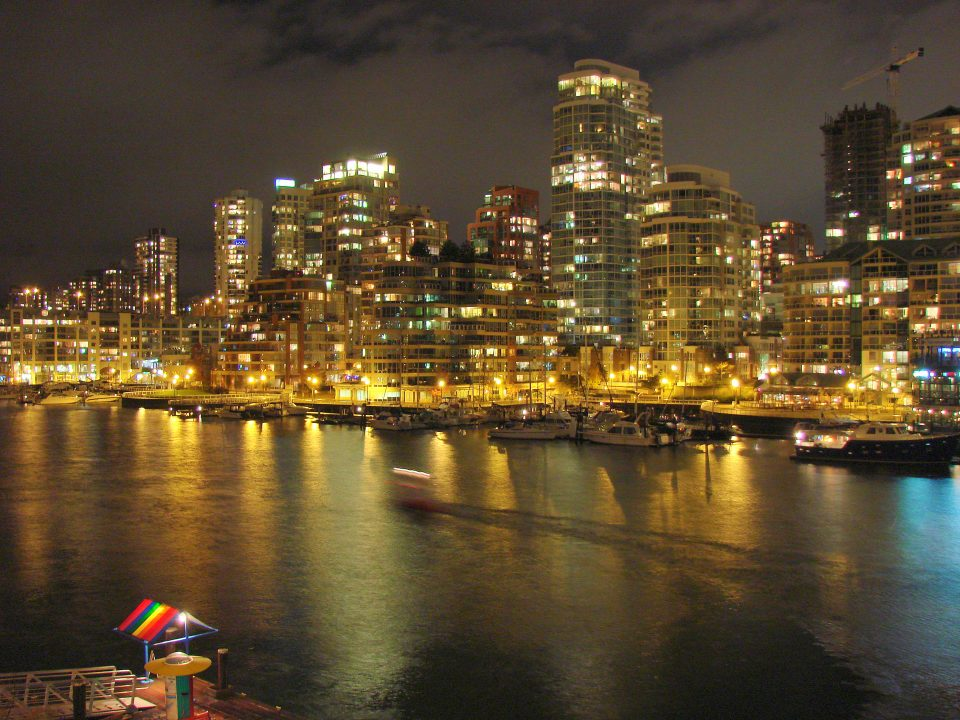 Downtown Vancouver at Night with SeaBus