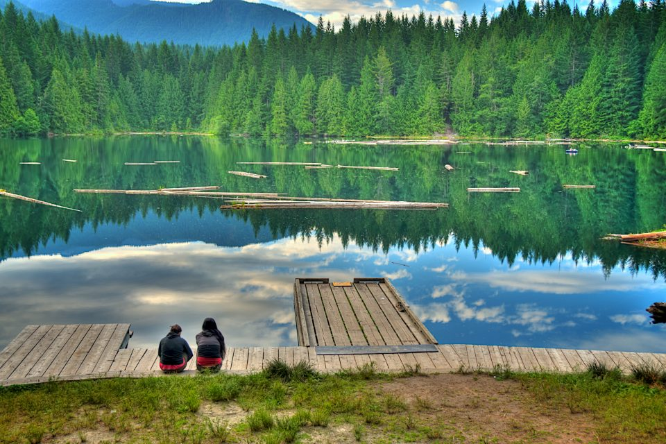 Two Women Sitting Beside Alice Lake Peace and Quiet