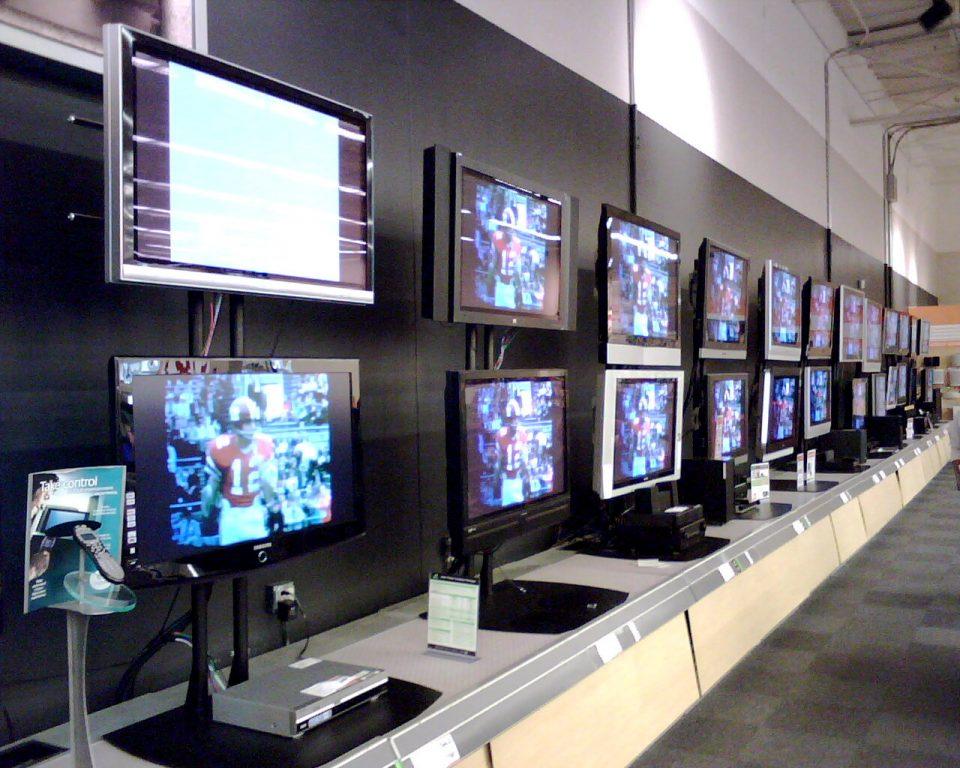 Wall Of Old HDTVs Circa 2007