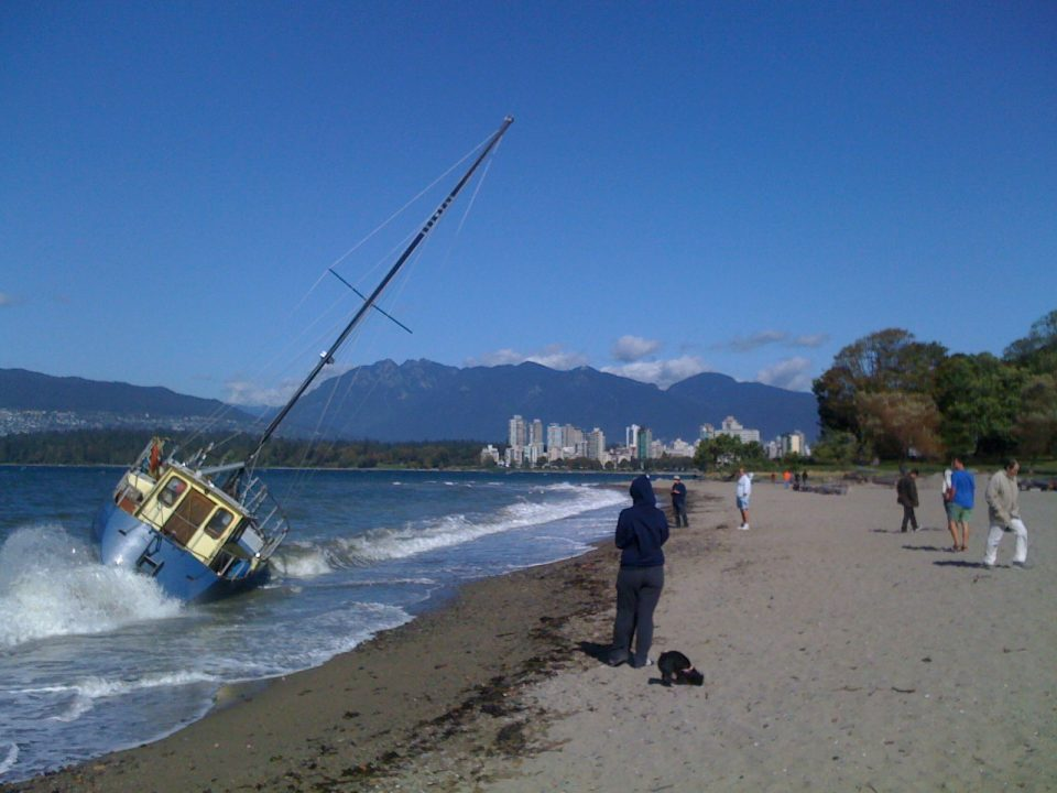 Better shot of sailboat washed up at Kits Beach