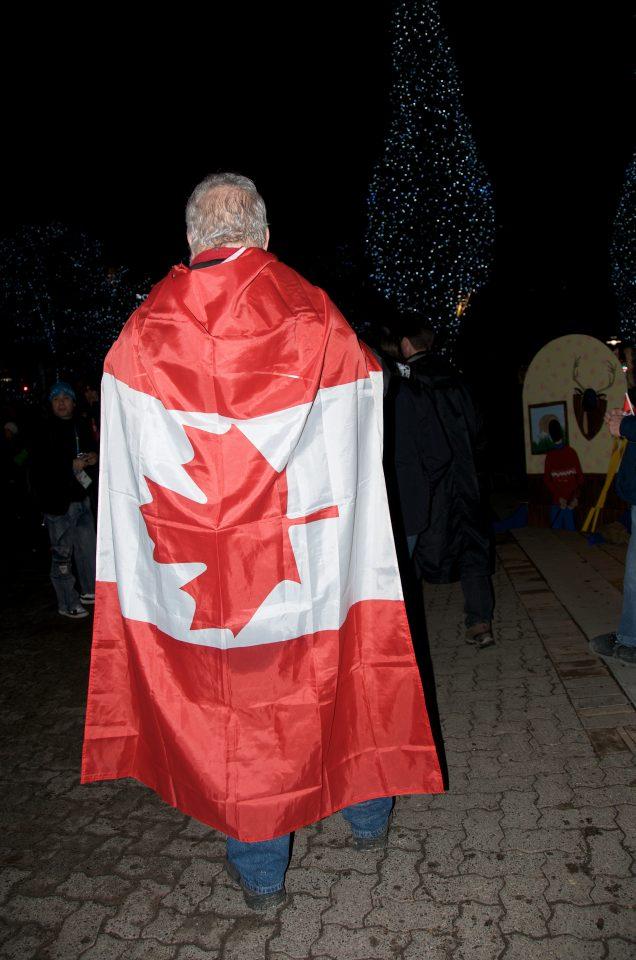 Man Wearing Canadian Flag