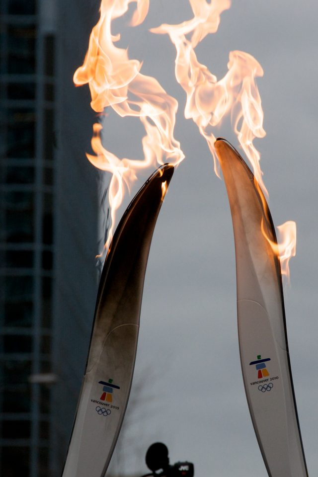 Closeup of Olympic Torch Flames