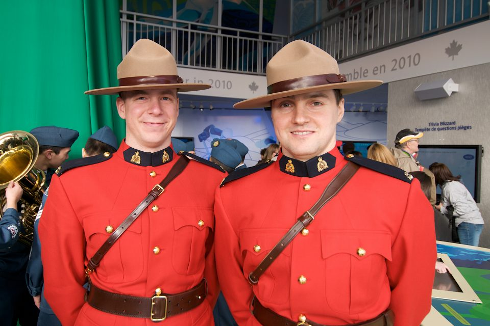 Mounties at Canada Pavillion Livecity Downtown Vancouver 2010 Olympics