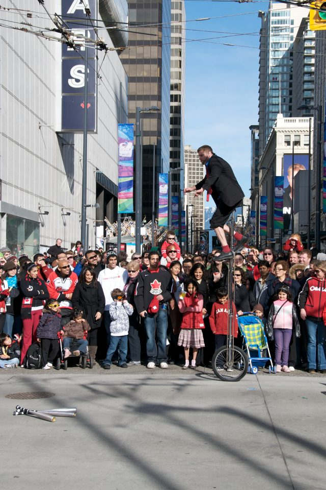 Street Performer on High Unicycle