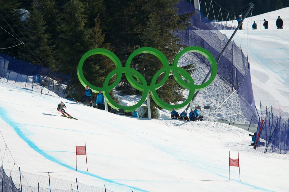 Skiier on the Super G Course at the Vancouver 2010 Winter Games