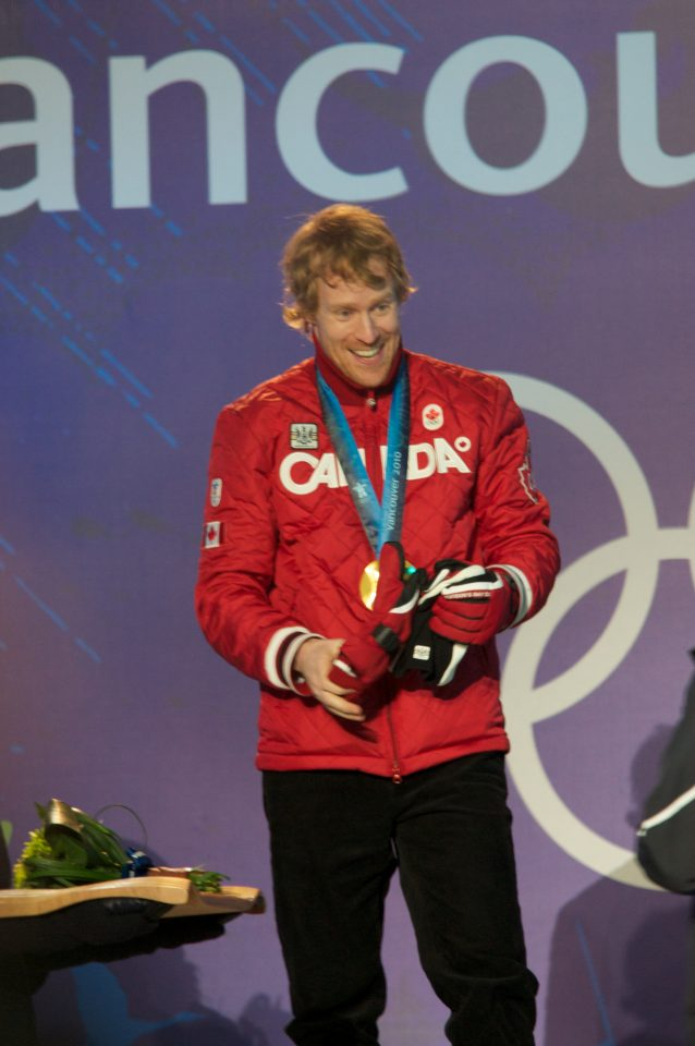 Jon Montgomery Singing O Canada after Receiving His Gold Medal