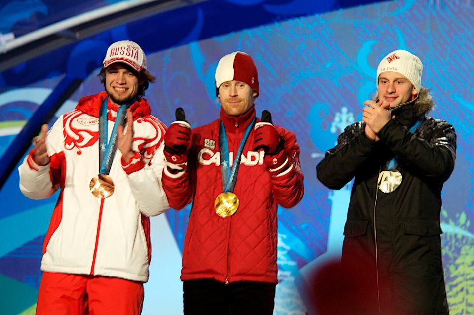 Alexander Tretiakov, Jon Montgomery, and Martins Dukurs