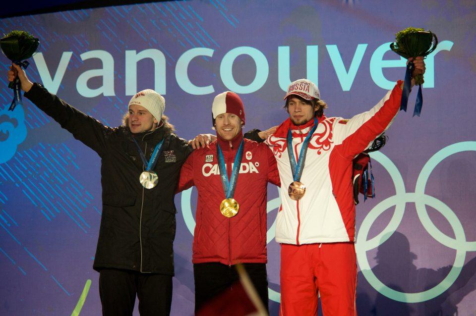 Martins Dukurs, Jon Montgomery, and Alexander Tretiakov