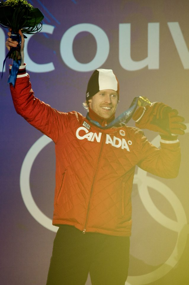 Jon Montgomery Celebrates His Gold Medal