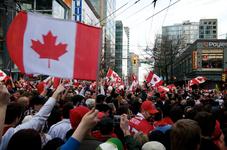 Sea of Flags at Robson and Granville