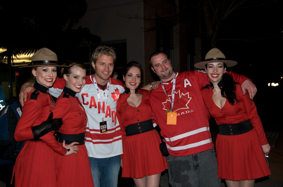 Canadian Mountie Girls - Party in the Streets After Canada Wins Gold in Hockey