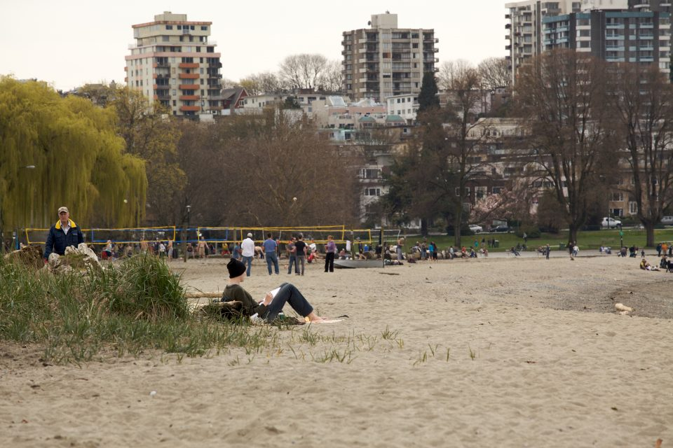 Kits Beach, in March
