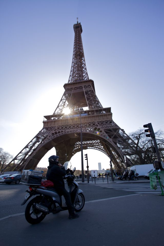 Scooter and Eiffel Tower