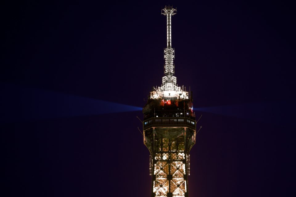 Closeup of the Eiffel Tower at Night