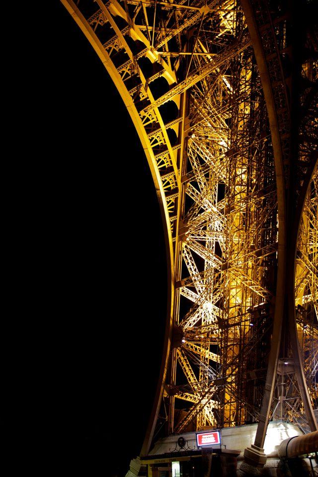 Eiffel Tower Pillar at Night