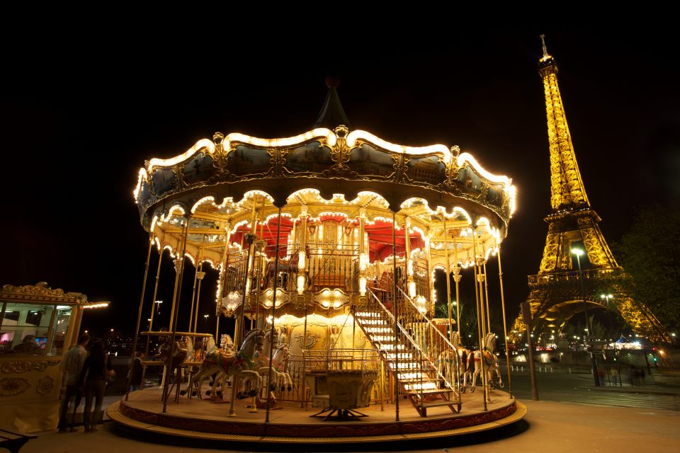 Carousel and Eiffel Tower at Night