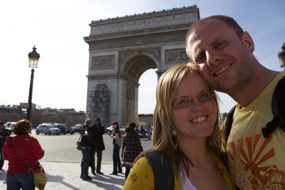 Dorothy and I at l'Arc de Triomphe