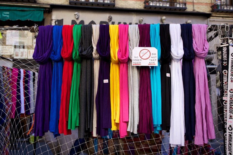 Colorful Scarves El Rastro Madrid. Do Not Take! Ask!