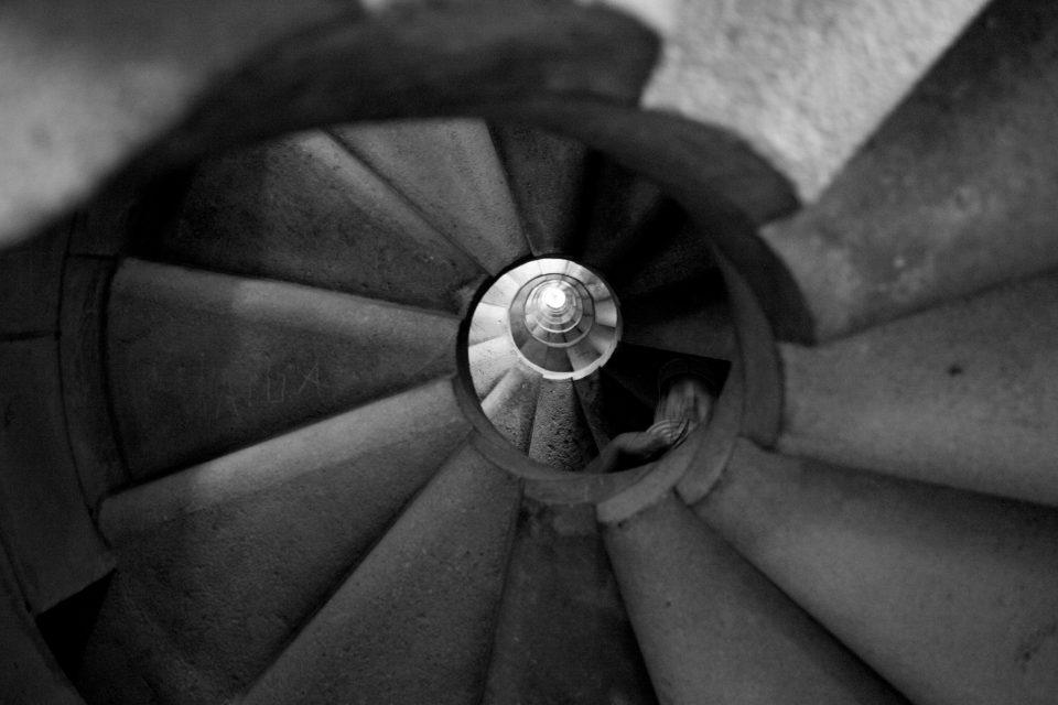 La Sagrada Familia Winding Stairs From Below