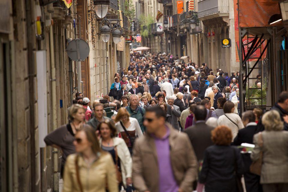 Crowds Of People at Barcelona's La Diada de Sant Jordi