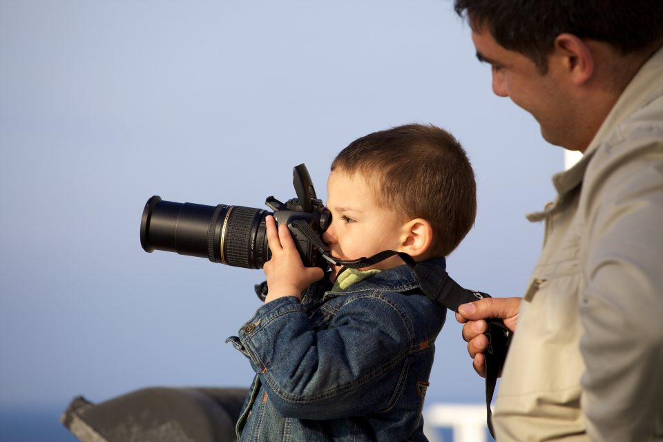 Kid Taking Pictures On the Ferry to Majorca