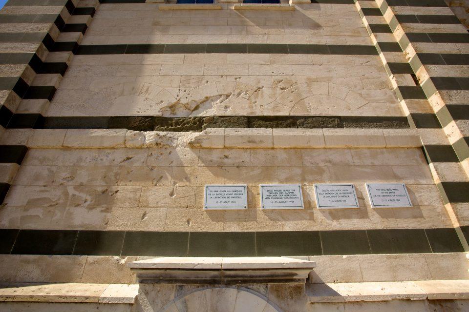 Bullet Holes on the wall of Notre-Dame de la Garde Marseille