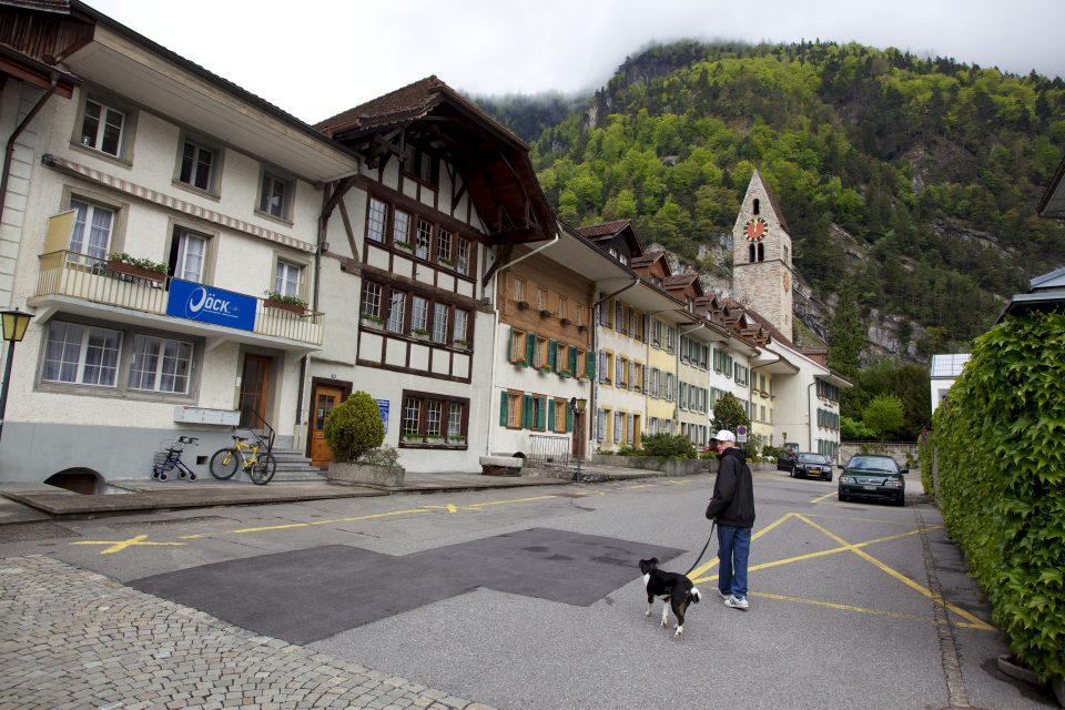 Man Walking Dog Interlaken