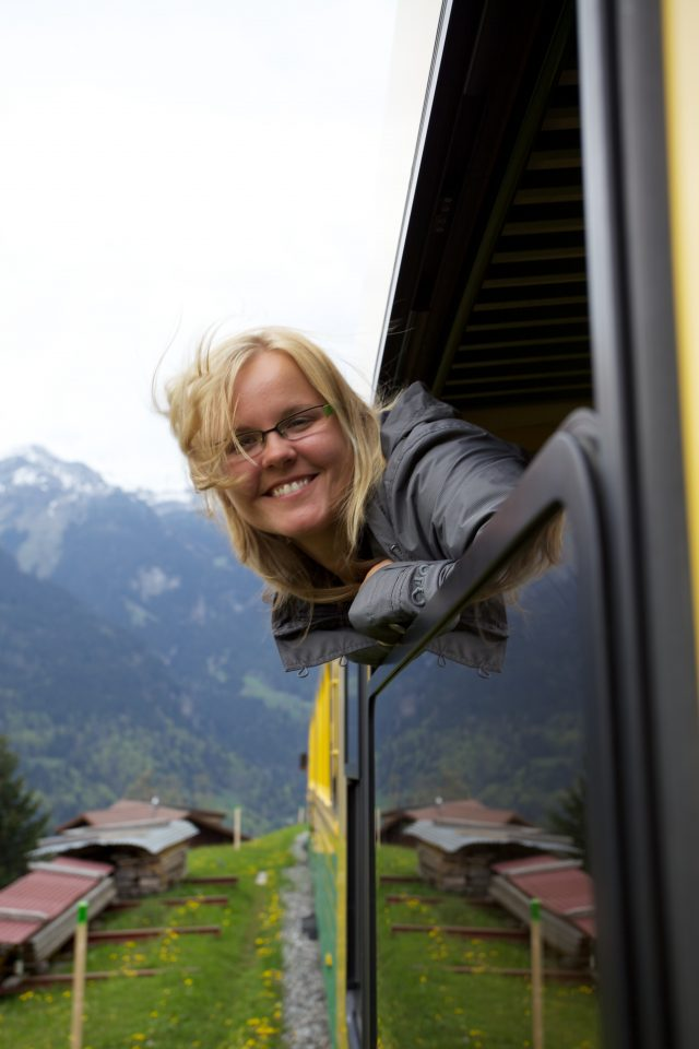 Dorothy Riding the train back to Lauterbrunnen