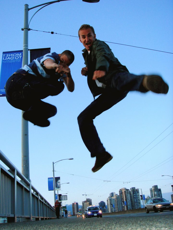 Rick and Jon Jumping on the Granville Bridge