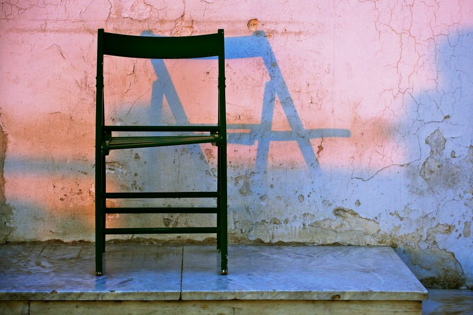 Chair at Sunset in Athens Greece