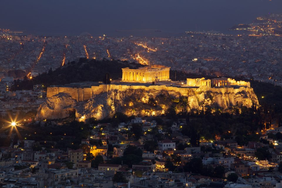The Acropolis Of Athens At Night From Above