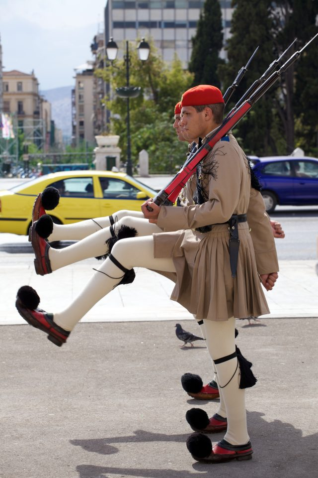 The Evzones Soldiers Outside Athens Greece Parliament