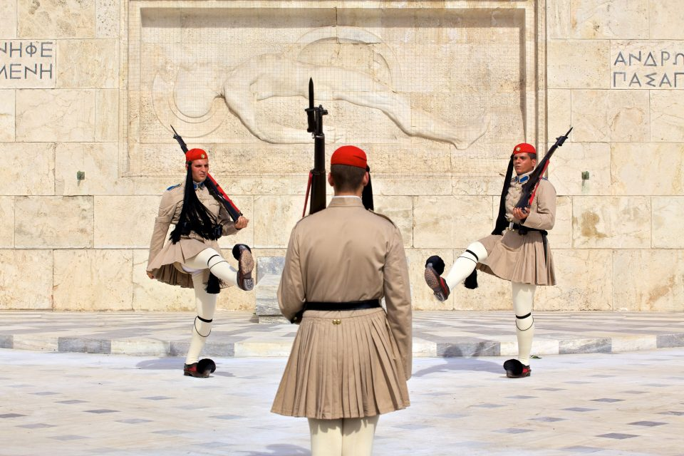 Soldiers Outside Athens Greece Hellenic Parliament Athens Greece