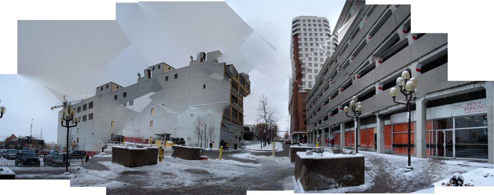 snowy building