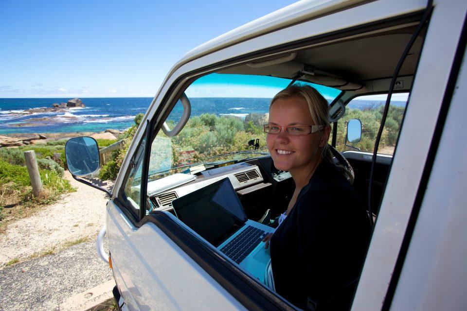 Dorothy Working in the Van