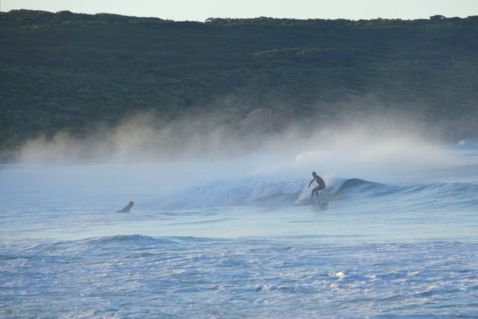 surfing riding a small wave in the morning mist