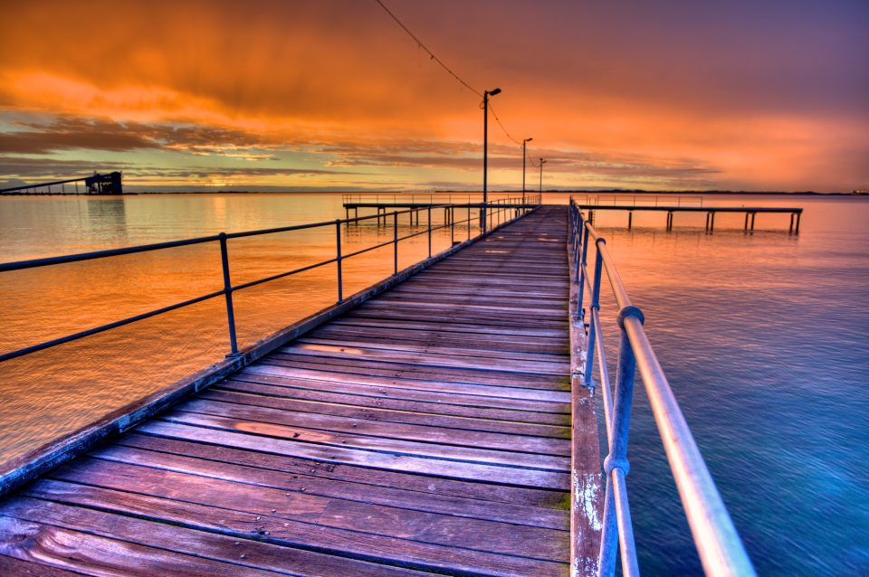 Colorful Sunset Over Pier
