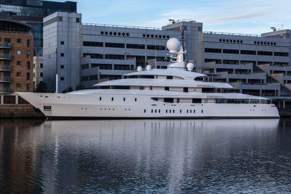 Ilona Yacht Docked At Canary Wharf London