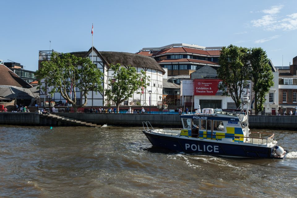 Police Boat and Shakespeare's Globe Theater
