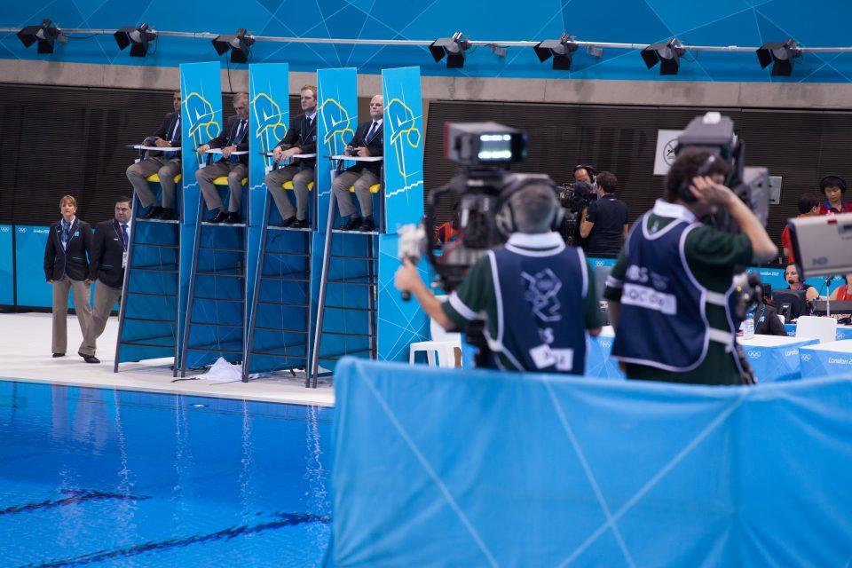 Women's 3M Diving Final Judges London 2012 Olympics 0358