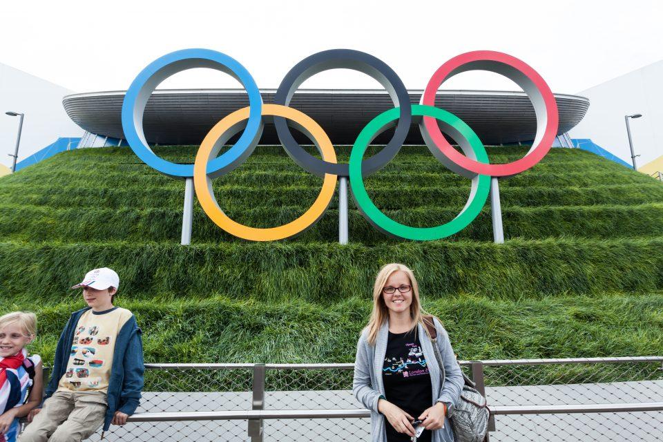 Dorothy and Olympic Rings at Aquatics Center London 2012 Olympics 0353
